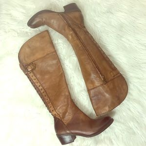 VINCE CAMUTO Distressed snap cognac riding boots